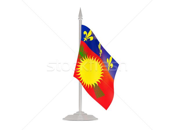 Bayrak bayrak direği 3d render yalıtılmış beyaz Stok fotoğraf © MikhailMishchenko