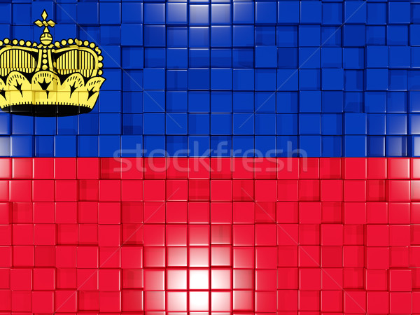 Background with square parts. Flag of liechtenstein. 3D illustra Stock photo © MikhailMishchenko