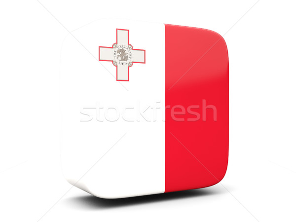 Placu ikona banderą Malta 3d ilustracji odizolowany Zdjęcia stock © MikhailMishchenko