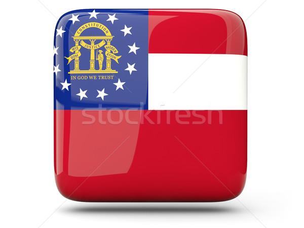Vlag vierkante icon geïsoleerd witte 3d illustration Stockfoto © MikhailMishchenko