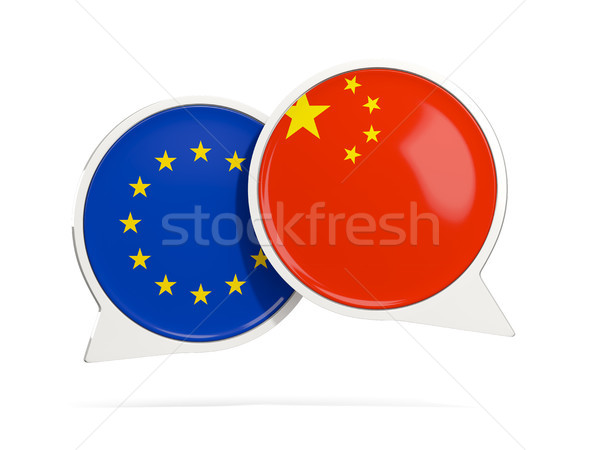 Chat bubbles of EU and China isolated on white Stock photo © MikhailMishchenko