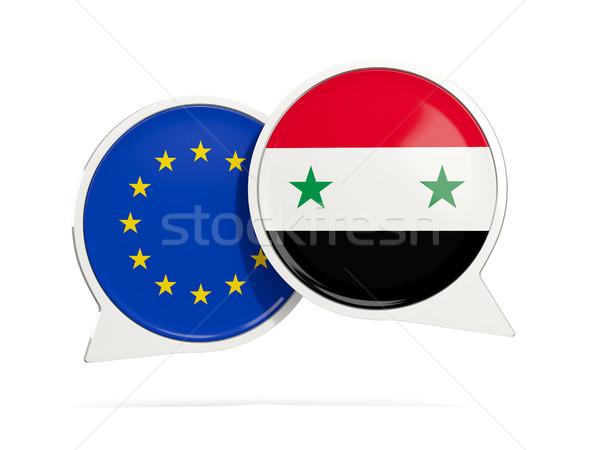 Chat bubbels eu Syrië geïsoleerd witte Stockfoto © MikhailMishchenko