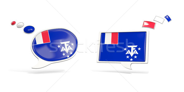 Stock photo: Two chat icons with flag of french southern territories