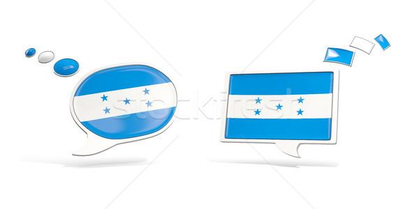 Dois conversar ícones bandeira Honduras praça Foto stock © MikhailMishchenko
