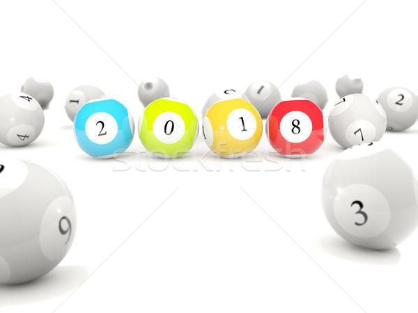 új év felirat lottó golyók fehér 3d illusztráció Stock fotó © MikhailMishchenko