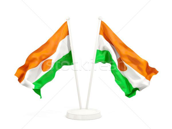 Dos banderas Níger aislado blanco Foto stock © MikhailMishchenko