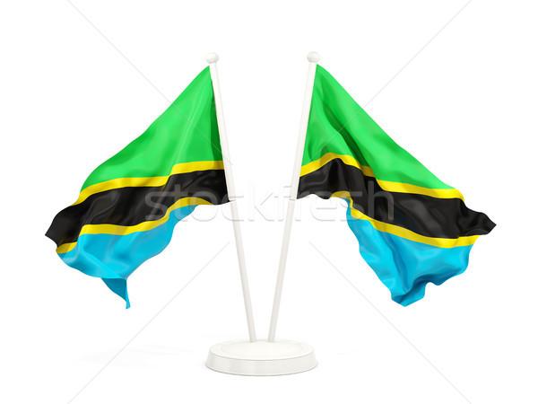 два флагами Танзания изолированный белый Сток-фото © MikhailMishchenko
