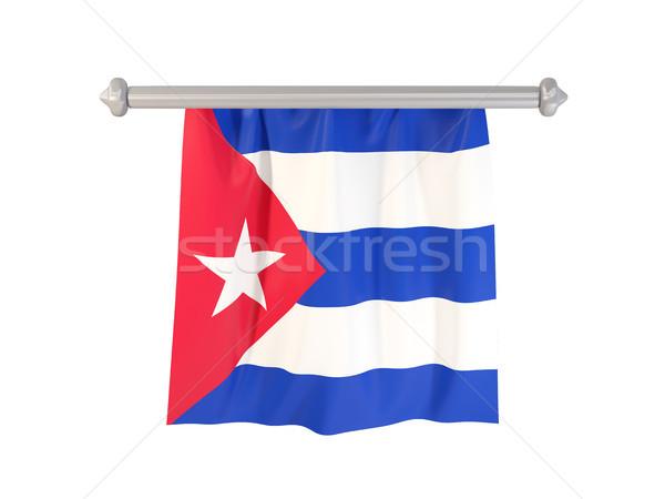 флаг Куба изолированный белый 3d иллюстрации Label Сток-фото © MikhailMishchenko