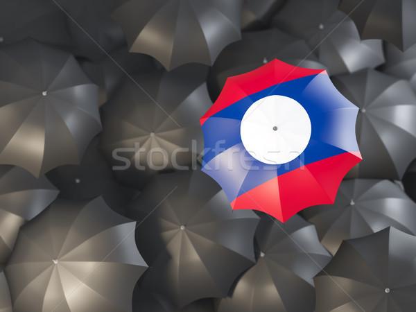 Parasol banderą Laos górę czarny parasole Zdjęcia stock © MikhailMishchenko