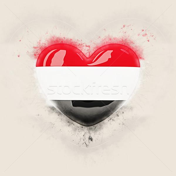 Coração bandeira Iémen grunge ilustração 3d viajar Foto stock © MikhailMishchenko