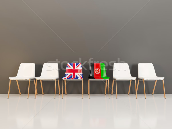 Chairs with flag of United Kingdom and afghanistan Stock photo © MikhailMishchenko