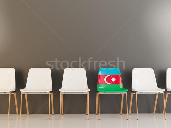 Krzesło banderą Azerbejdżan rząd biały krzesła Zdjęcia stock © MikhailMishchenko