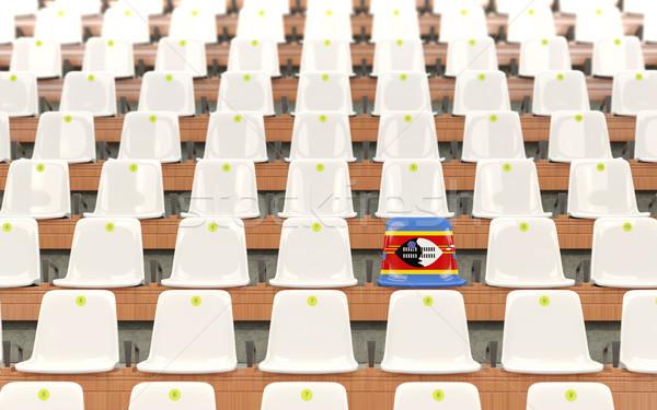Stadion siedziba banderą Suazi rząd biały Zdjęcia stock © MikhailMishchenko