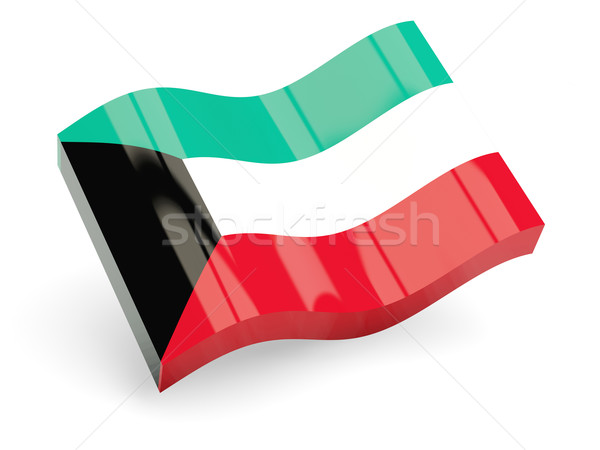 Foto d'archivio: 3D · bandiera · Kuwait · isolato · bianco · onda