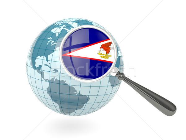 Bandeira Samoa Americana azul globo isolado Foto stock © MikhailMishchenko