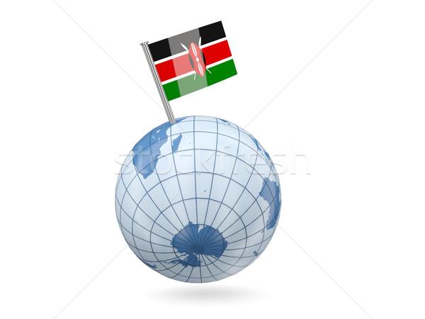 Stock fotó: Földgömb · zászló · Kenya · kék · izolált · fehér