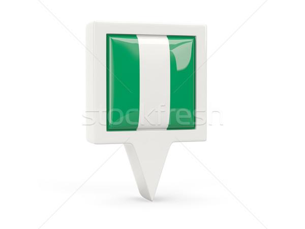 Praça bandeira ícone Nigéria isolado branco Foto stock © MikhailMishchenko