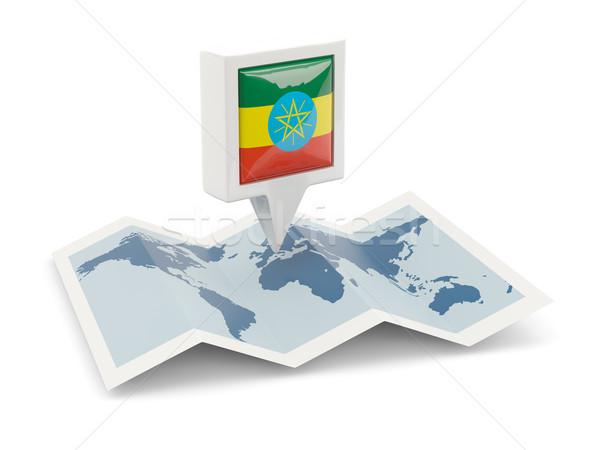 Placu pin banderą Etiopia Pokaż podróży Zdjęcia stock © MikhailMishchenko