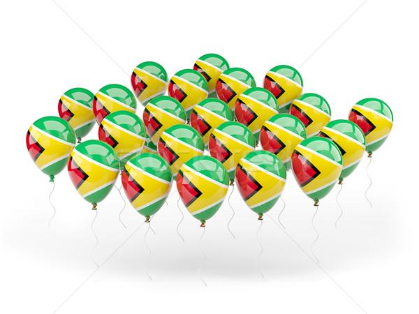 Léggömbök zászló Guyana izolált fehér utazás Stock fotó © MikhailMishchenko