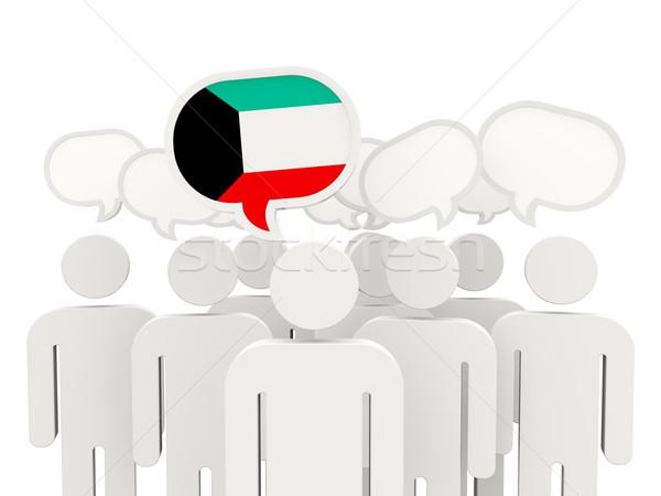 Pessoas bandeira Kuweit isolado branco reunião Foto stock © MikhailMishchenko