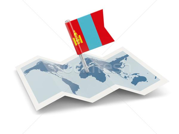 Kaart vlag Mongolië geïsoleerd witte Stockfoto © MikhailMishchenko