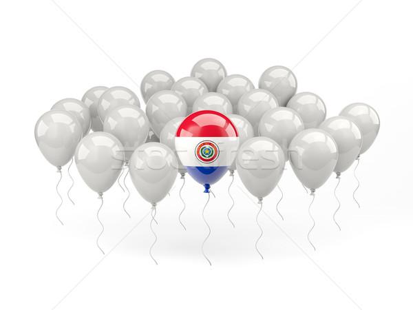 Levegő léggömbök zászló Paraguay izolált fehér Stock fotó © MikhailMishchenko