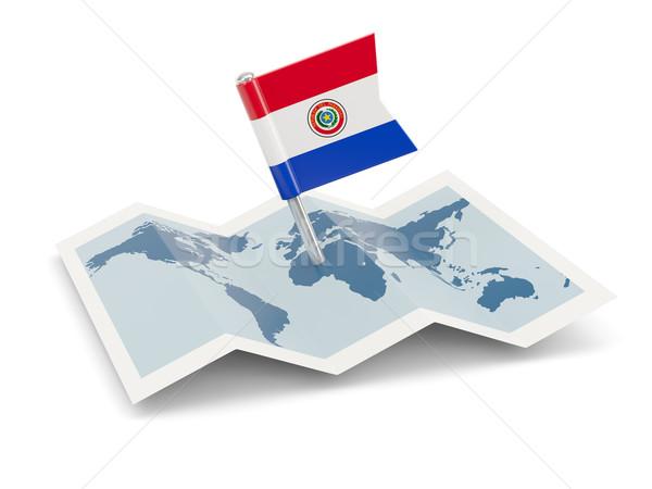 Pokaż banderą Paragwaj odizolowany biały Zdjęcia stock © MikhailMishchenko