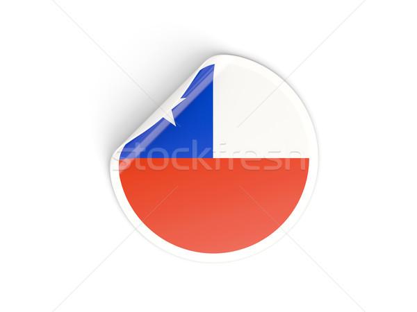 Adesivo bandiera Chile isolato bianco viaggio Foto d'archivio © MikhailMishchenko
