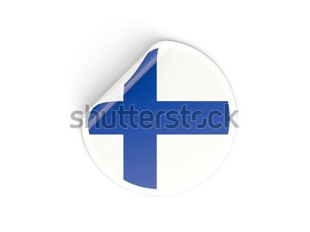 Adesivo bandiera Finlandia isolato bianco viaggio Foto d'archivio © MikhailMishchenko