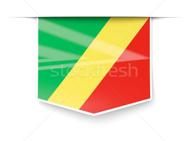 Square label with flag of republic of the congo Stock photo © MikhailMishchenko