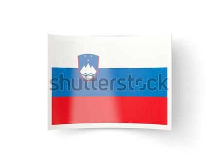 Piazza etichetta bandiera Slovenia isolato bianco Foto d'archivio © MikhailMishchenko