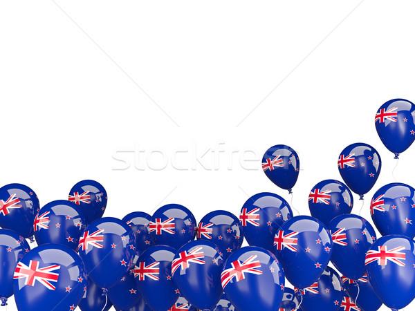 Repülés léggömbök zászló Új-Zéland izolált fehér Stock fotó © MikhailMishchenko