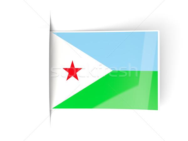 Placu etykiety banderą Dżibuti odizolowany biały Zdjęcia stock © MikhailMishchenko