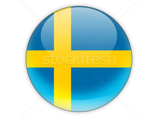 Ikona banderą Szwecja odizolowany biały podróży Zdjęcia stock © MikhailMishchenko