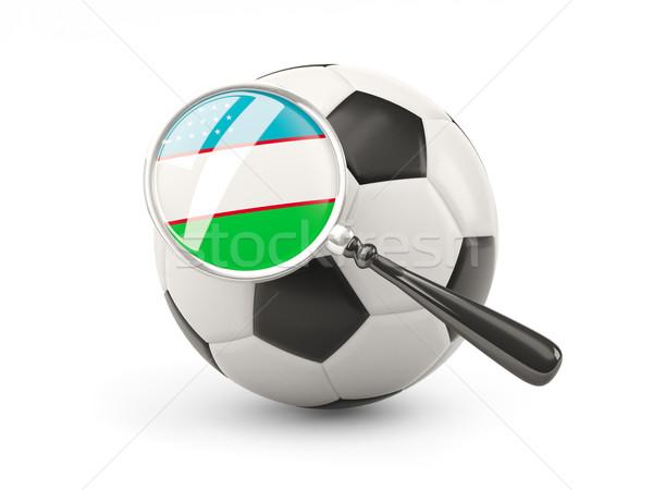 Futball nagyított zászló Üzbegisztán izolált fehér Stock fotó © MikhailMishchenko