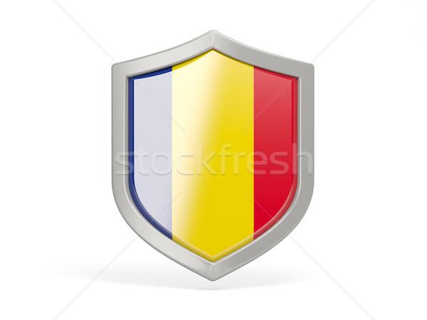 Schild icon vlag Roemenië geïsoleerd witte Stockfoto © MikhailMishchenko