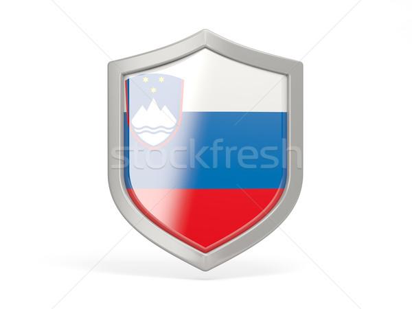 Escudo ícone bandeira Eslovenia isolado branco Foto stock © MikhailMishchenko