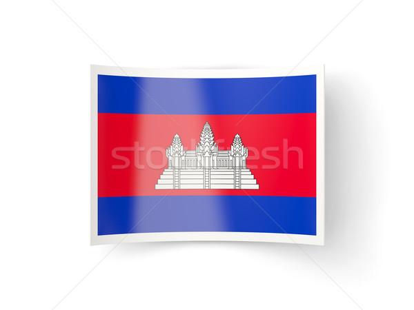 ícone bandeira Camboja isolado branco país Foto stock © MikhailMishchenko