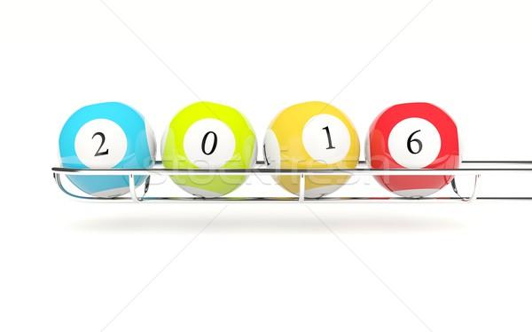2016 año nuevo lotería aislado blanco Foto stock © MikhailMishchenko
