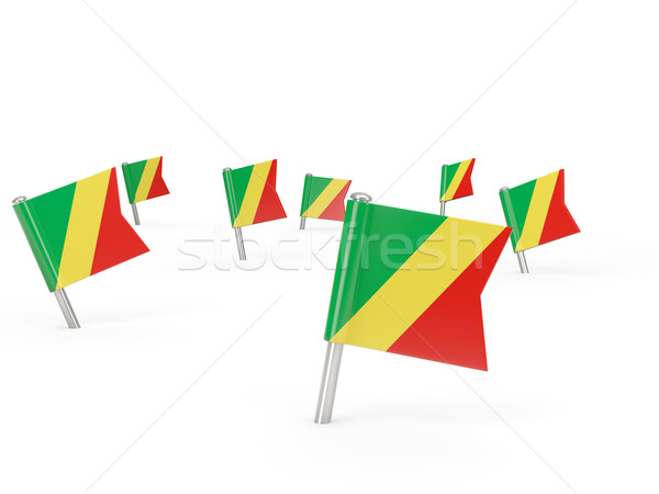 Square pins with flag of republic of the congo Stock photo © MikhailMishchenko