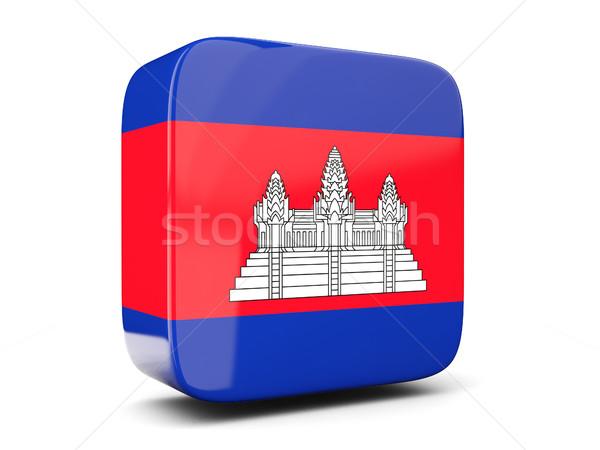 Praça ícone bandeira Camboja ilustração 3d isolado Foto stock © MikhailMishchenko