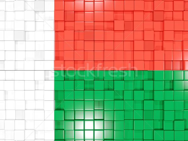 Tér alkatrészek zászló Madagaszkár 3D mozaik Stock fotó © MikhailMishchenko
