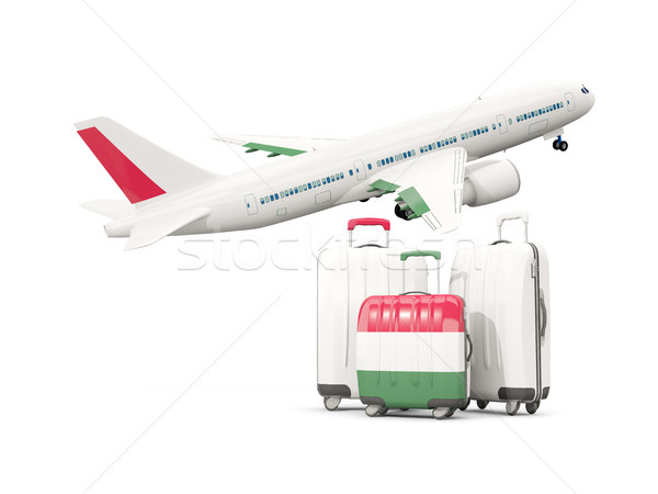 Luggage with flag of hungary. Three bags with airplane Stock photo © MikhailMishchenko
