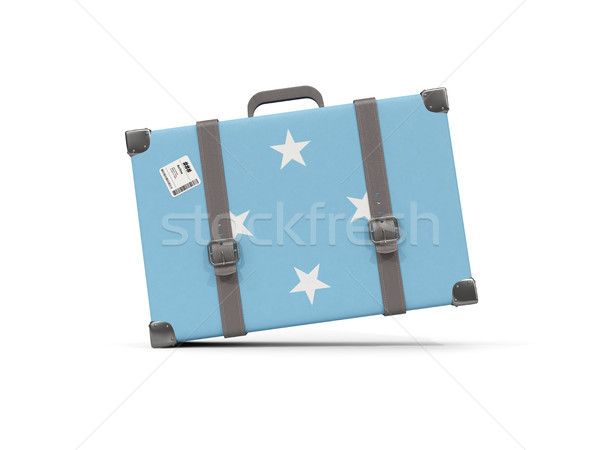 Luggage with flag of micronesia. Suitcase isolated on white Stock photo © MikhailMishchenko