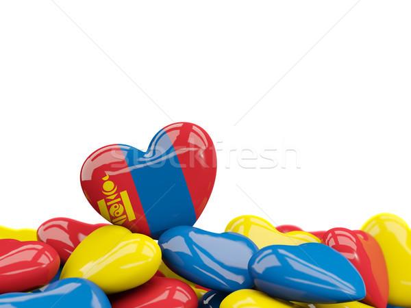 Szív zászló Mongólia felső szívek izolált Stock fotó © MikhailMishchenko