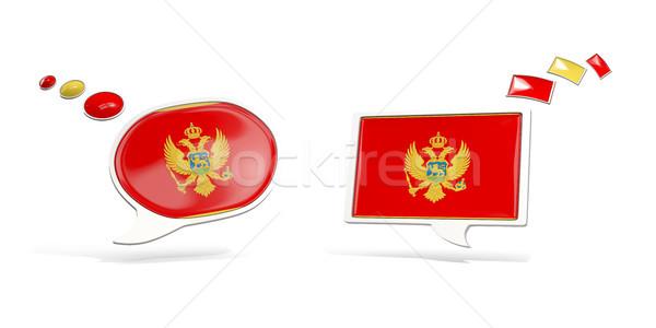 два чате иконки флаг Черногория квадратный Сток-фото © MikhailMishchenko