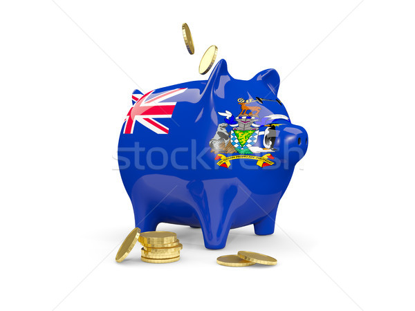 Fat piggy bank with fag of south georgia and the south sandwich  Stock photo © MikhailMishchenko