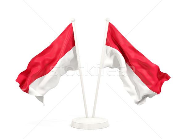 Dois bandeiras Mônaco isolado branco Foto stock © MikhailMishchenko