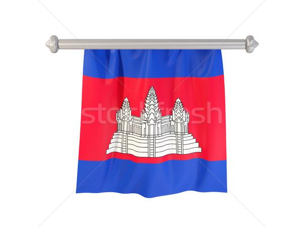 Vlag Cambodja geïsoleerd witte 3d illustration label Stockfoto © MikhailMishchenko