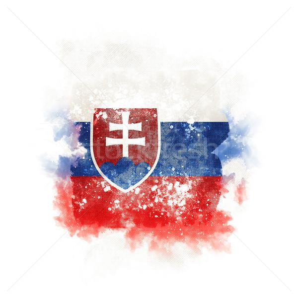 Praça grunge bandeira Eslováquia ilustração 3d retro Foto stock © MikhailMishchenko